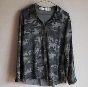 Kelly Renee Camo Button Up Shirt Blouse Shacket